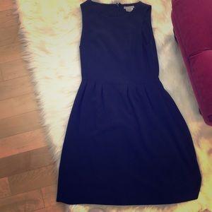 Sleeveless a line navy blue dress